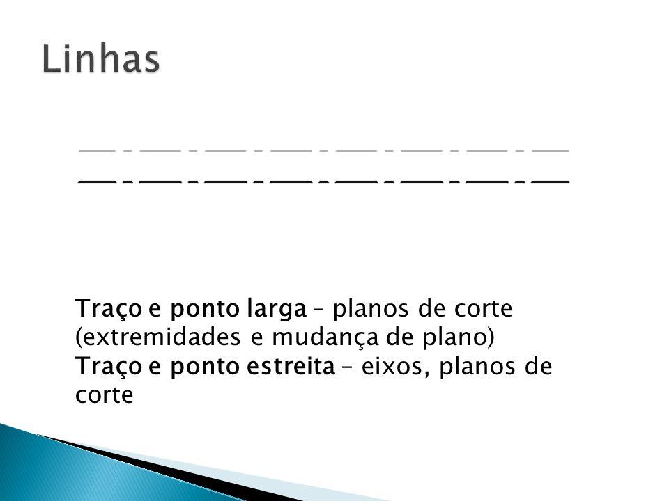 Traço e ponto larga – planos de corte (extremidades e mudança de plano) Traço e ponto estreita – eixos, planos de corte
