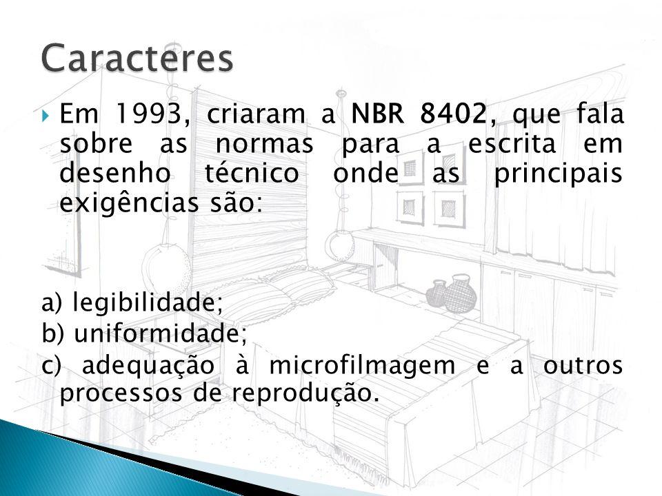 Em 1993, criaram a NBR 8402, que fala sobre as normas para a escrita em desenho técnico onde as principais exigências são: a) legibilidade; b) uniform