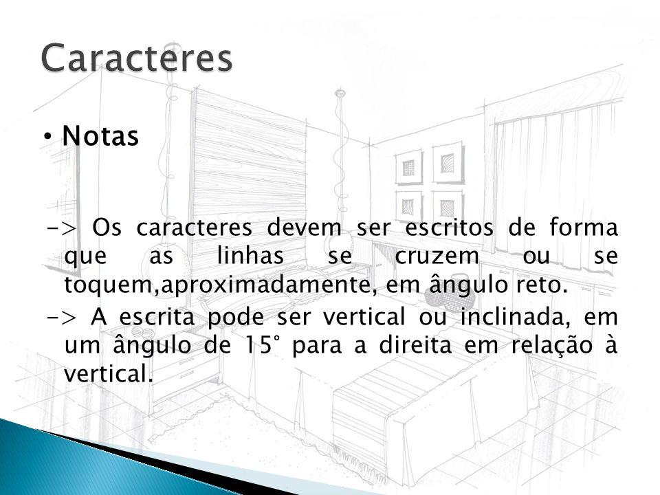 -> Os caracteres devem ser escritos de forma que as linhas se cruzem ou se toquem,aproximadamente, em ângulo reto. -> A escrita pode ser vertical ou i