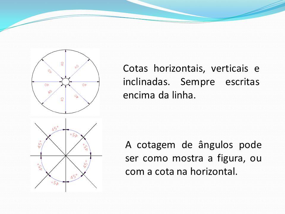 Cotas horizontais, verticais e inclinadas. Sempre escritas encima da linha. A cotagem de ângulos pode ser como mostra a figura, ou com a cota na horiz