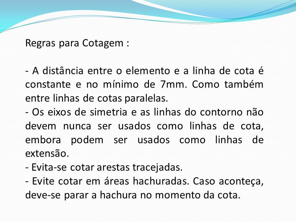 Regras para Cotagem : - A distância entre o elemento e a linha de cota é constante e no mínimo de 7mm. Como também entre linhas de cotas paralelas. -