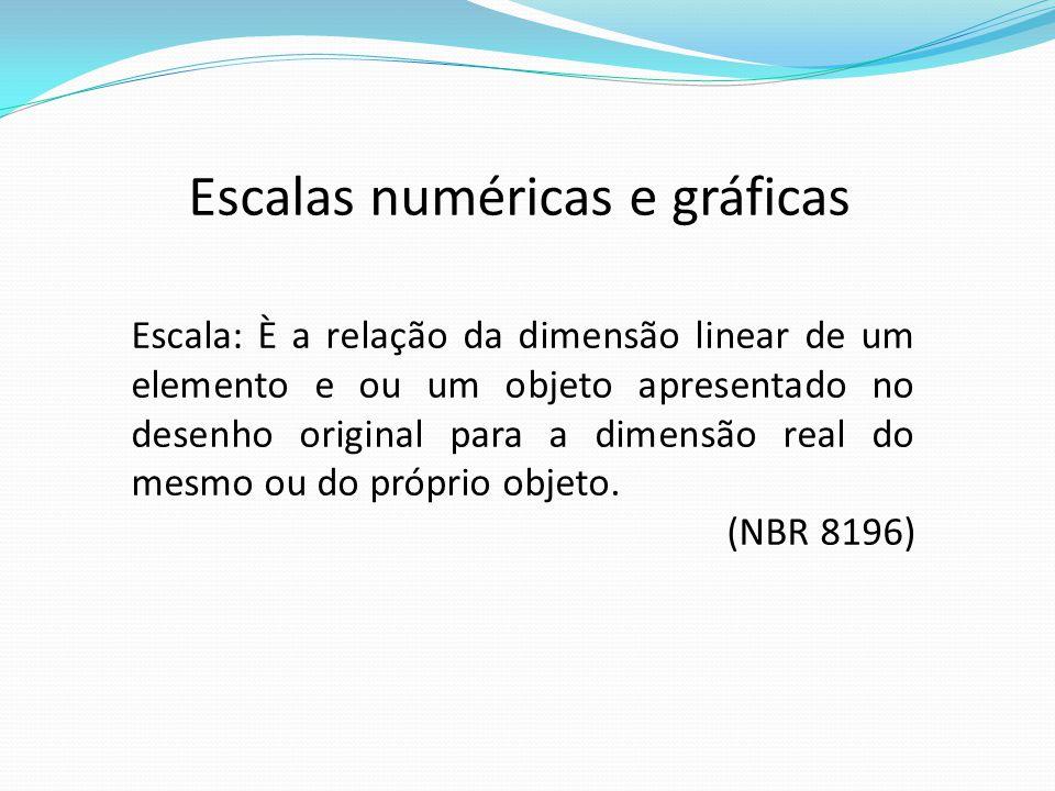Escalas numéricas e gráficas Escala: È a relação da dimensão linear de um elemento e ou um objeto apresentado no desenho original para a dimensão real