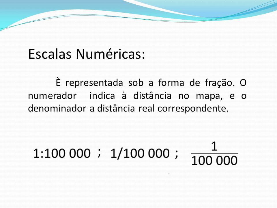 Escalas Numéricas: È representada sob a forma de fração. O numerador indica à distância no mapa, e o denominador a distância real correspondente.