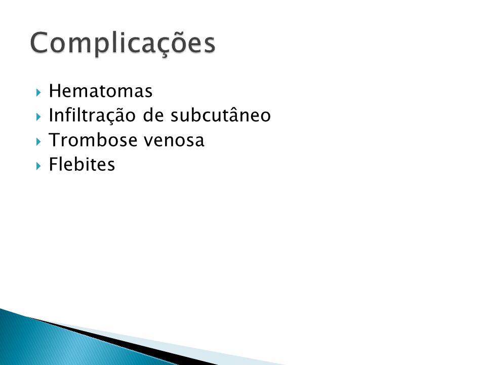 Hematomas Infiltração de subcutâneo Trombose venosa Flebites