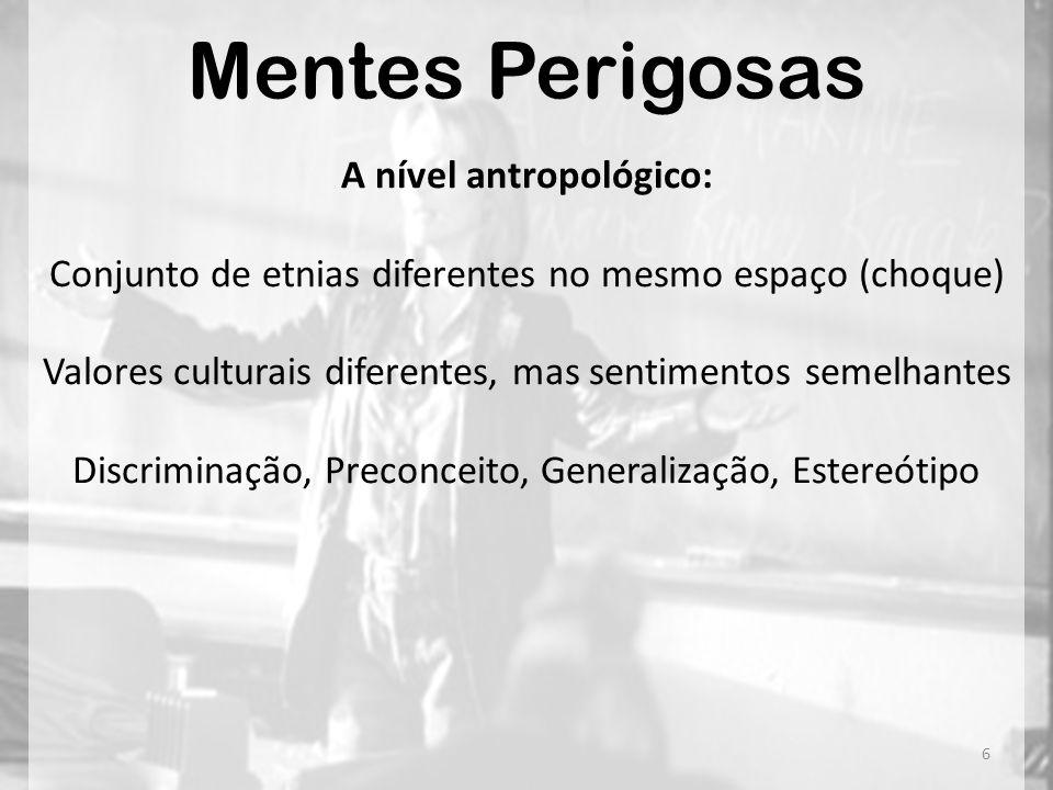 Mentes Perigosas A nível antropológico: Conjunto de etnias diferentes no mesmo espaço (choque) Valores culturais diferentes, mas sentimentos semelhant