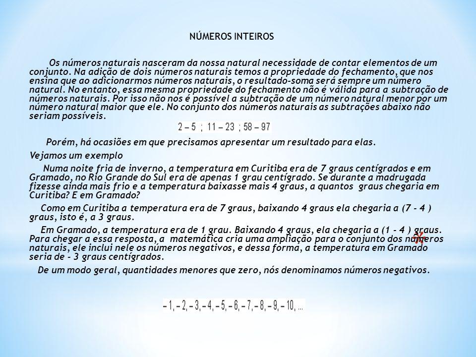 NÚMEROS INTEIROS Os números naturais nasceram da nossa natural necessidade de contar elementos de um conjunto. Na adição de dois números naturais temo