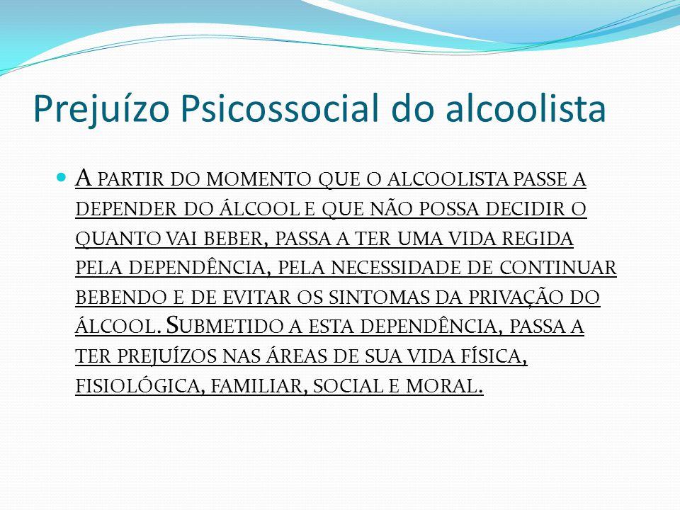 Prejuízo Psicossocial do alcoolista A PARTIR DO MOMENTO QUE O ALCOOLISTA PASSE A DEPENDER DO ÁLCOOL E QUE NÃO POSSA DECIDIR O QUANTO VAI BEBER, PASSA A TER UMA VIDA REGIDA PELA DEPENDÊNCIA, PELA NECESSIDADE DE CONTINUAR BEBENDO E DE EVITAR OS SINTOMAS DA PRIVAÇÃO DO ÁLCOOL.
