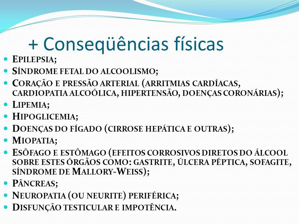 + Conseqüências físicas E PILEPSIA ; S ÍNDROME FETAL DO ALCOOLISMO ; C ORAÇÃO E PRESSÃO ARTERIAL ( ARRITMIAS CARDÍACAS, CARDIOPATIA ALCOÓLICA, HIPERTENSÃO, DOENÇAS CORONÁRIAS ); L IPEMIA ; H IPOGLICEMIA ; D OENÇAS DO FÍGADO ( CIRROSE HEPÁTICA E OUTRAS ); M IOPATIA ; E SÔFAGO E ESTÔMAGO ( EFEITOS CORROSIVOS DIRETOS DO ÁLCOOL SOBRE ESTES ÓRGÃOS COMO : GASTRITE, ÚLCERA PÉPTICA, SOFAGITE, SÍNDROME DE M ALLORY -W EISS ); P ÂNCREAS ; N EUROPATIA ( OU NEURITE ) PERIFÉRICA ; D ISFUNÇÃO TESTICULAR E IMPOTÊNCIA.