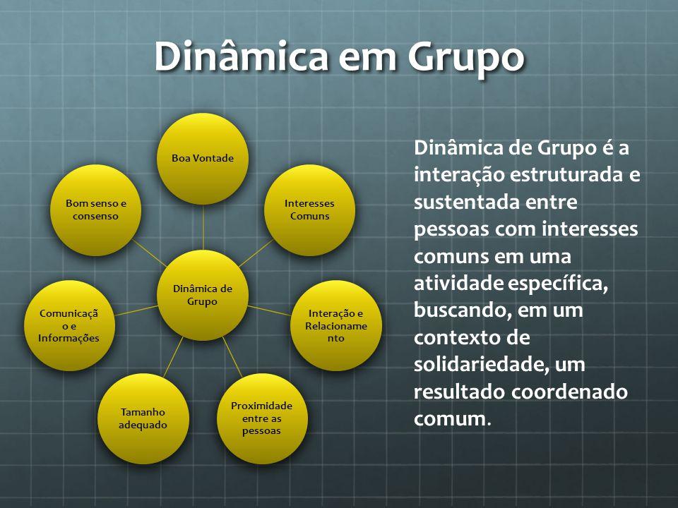 Dinâmica em Grupo Dinâmica de Grupo Boa Vontade Interesses Comuns Interação e Relacioname nto Proximidade entre as pessoas Tamanho adequado Comunicaçã