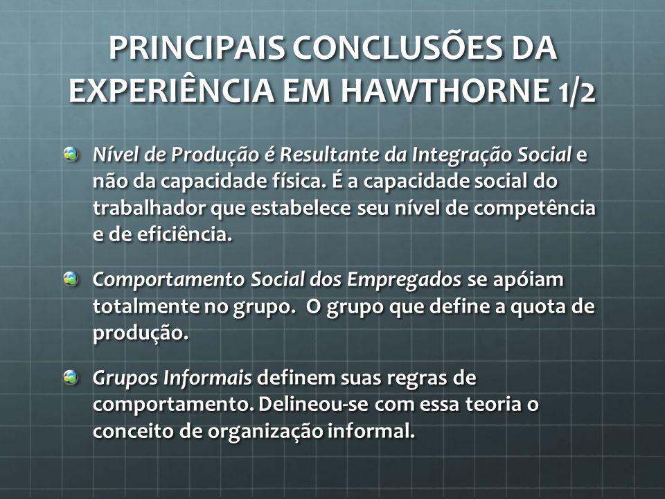 PRINCIPAIS CONCLUSÕES DA EXPERIÊNCIA EM HAWTHORNE 2/2 As Relações Humanas são as ações e atitudes desenvolvidas pelos contatos entre pessoas e grupos.