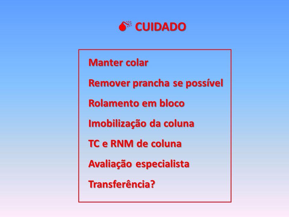 Manter colar Remover prancha se possível Rolamento em bloco Imobilização da coluna TC e RNM de coluna Avaliação especialista Transferência.