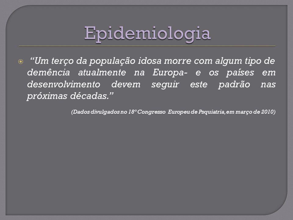 PREVALÊNCIAINCIDÊNCIA 3-11% >65anos No Brasil 7% 65-69 anos0,7% 70-74 anos2,7% 75-79 anos5,2% 80-84 anos8,1%