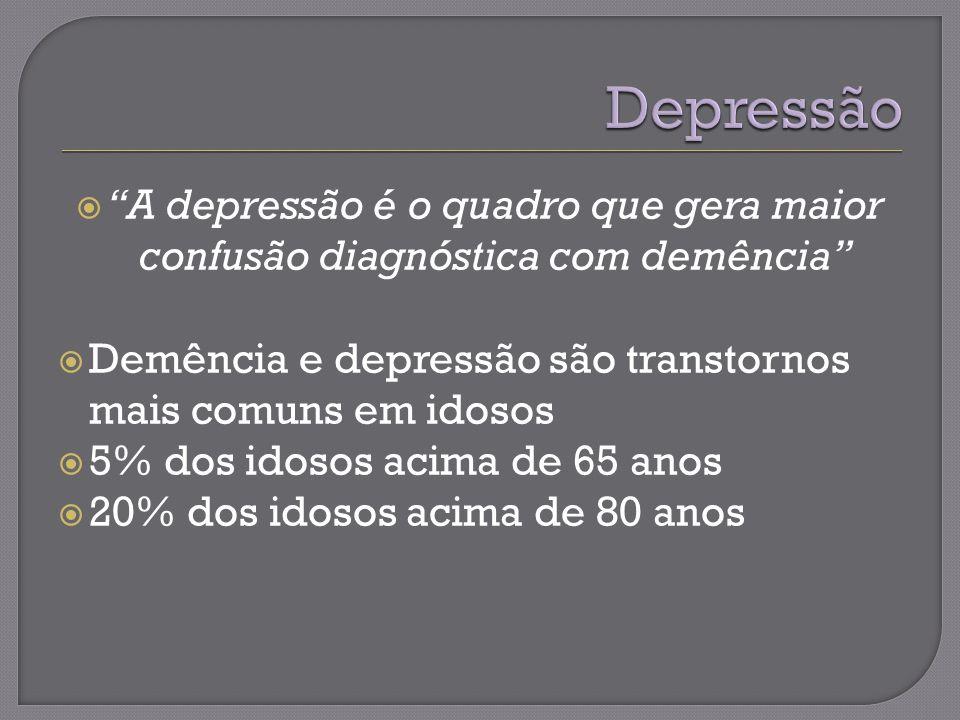 A depressão é o quadro que gera maior confusão diagnóstica com demência Demência e depressão são transtornos mais comuns em idosos 5% dos idosos acima de 65 anos 20% dos idosos acima de 80 anos
