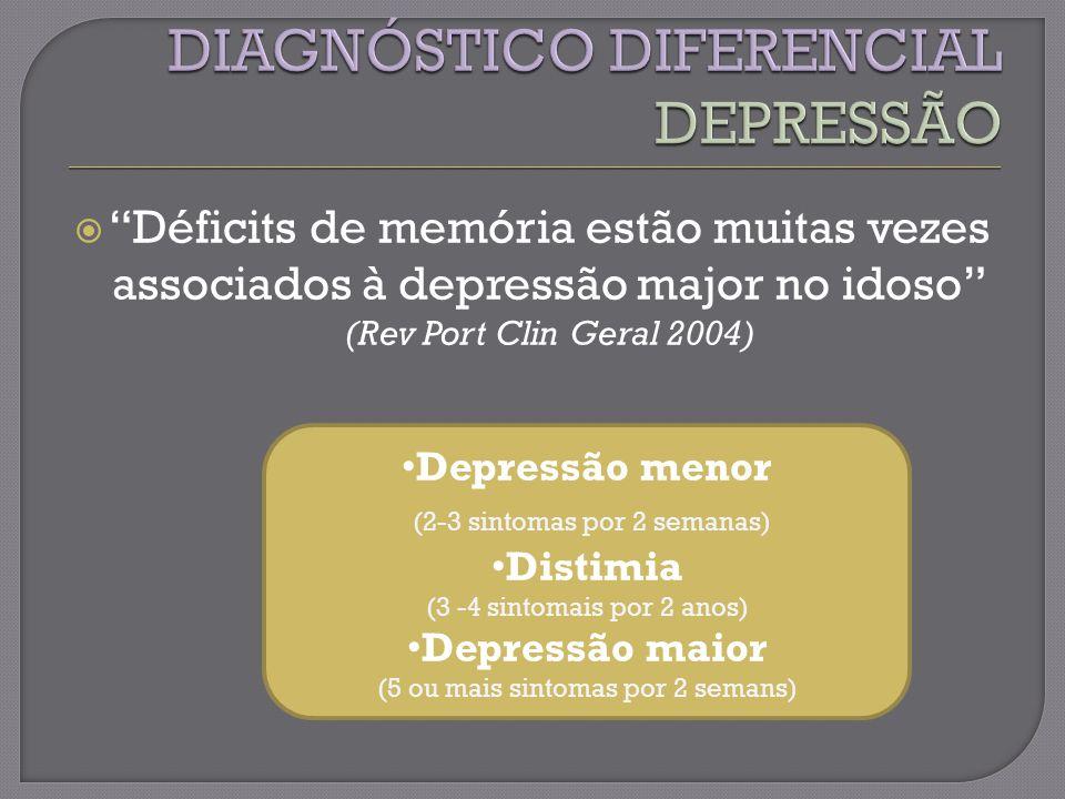 Déficits de memória estão muitas vezes associados à depressão major no idoso (Rev Port Clin Geral 2004) Depressão menor (2-3 sintomas por 2 semanas) Distimia (3 -4 sintomais por 2 anos) Depressão maior (5 ou mais sintomas por 2 semans)