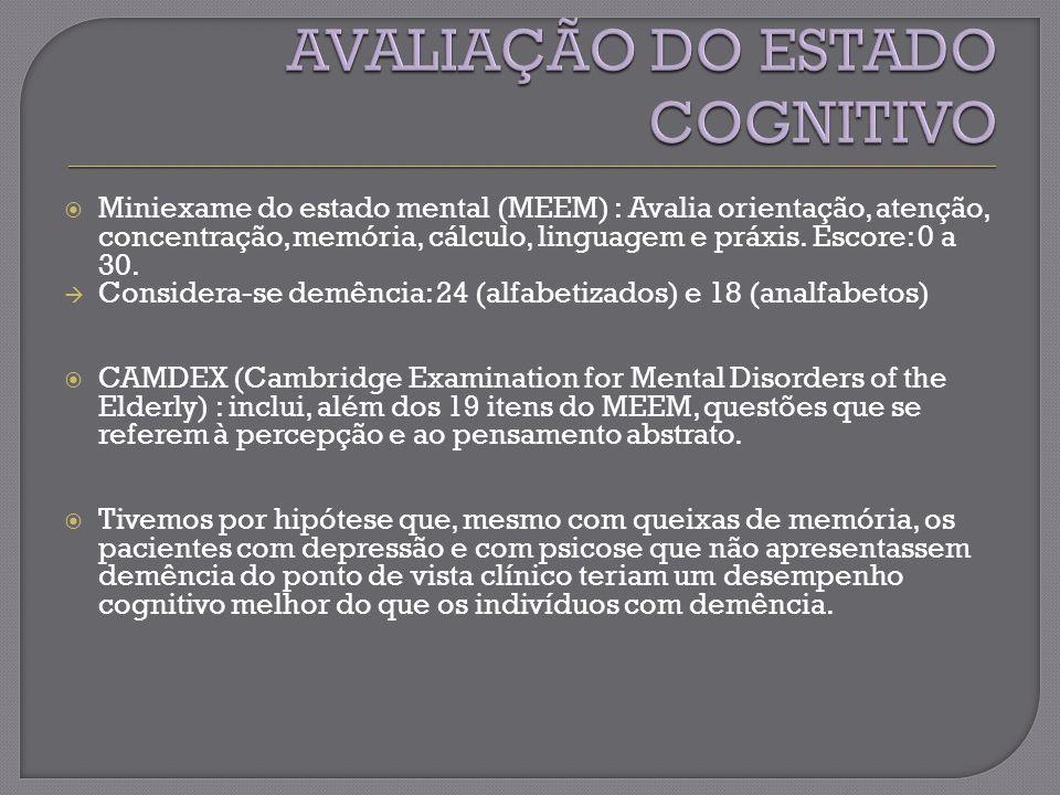 Miniexame do estado mental (MEEM) : Avalia orientação, atenção, concentração, memória, cálculo, linguagem e práxis.