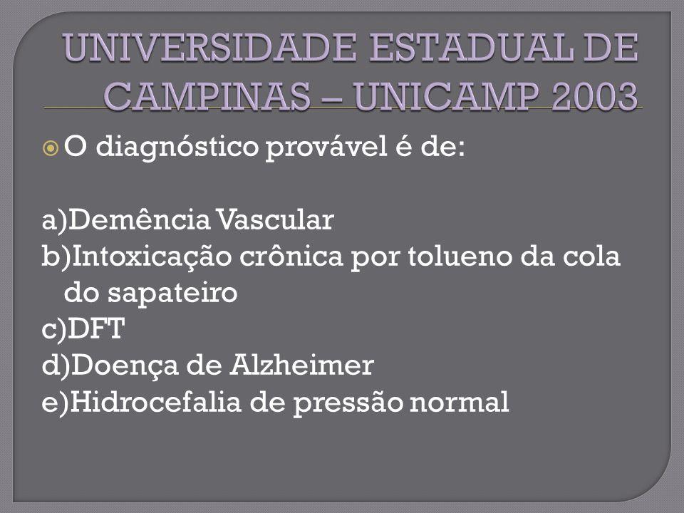 O diagnóstico provável é de: a)Demência Vascular b)Intoxicação crônica por tolueno da cola do sapateiro c)DFT d)Doença de Alzheimer e)Hidrocefalia de pressão normal