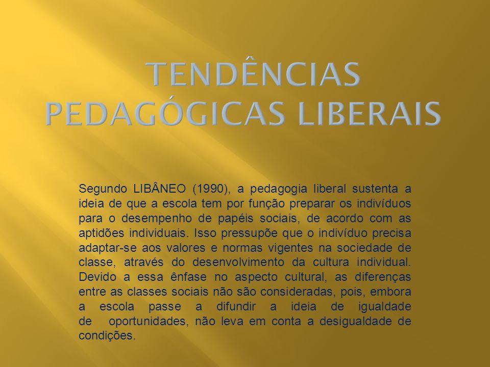 Segundo LIBÂNEO (1990), a pedagogia liberal sustenta a ideia de que a escola tem por função preparar os indivíduos para o desempenho de papéis sociais