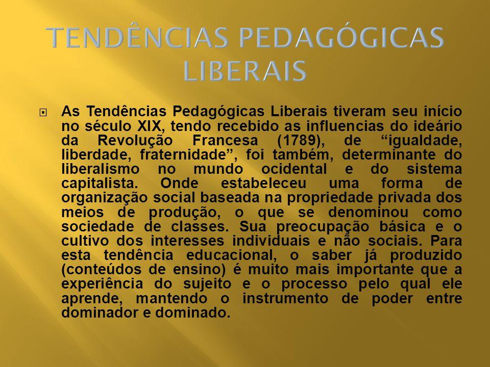 As Tendências Pedagógicas Liberais tiveram seu início no século XIX, tendo recebido as influencias do ideário da Revolução Francesa (1789), de igualda