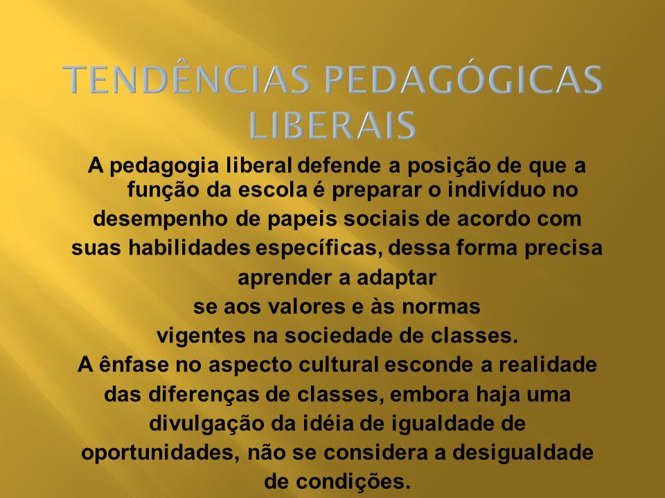 A pedagogia liberal defende a posição de que a função da escola é preparar o indivíduo no desempenho de papeis sociais de acordo com suas habilidades