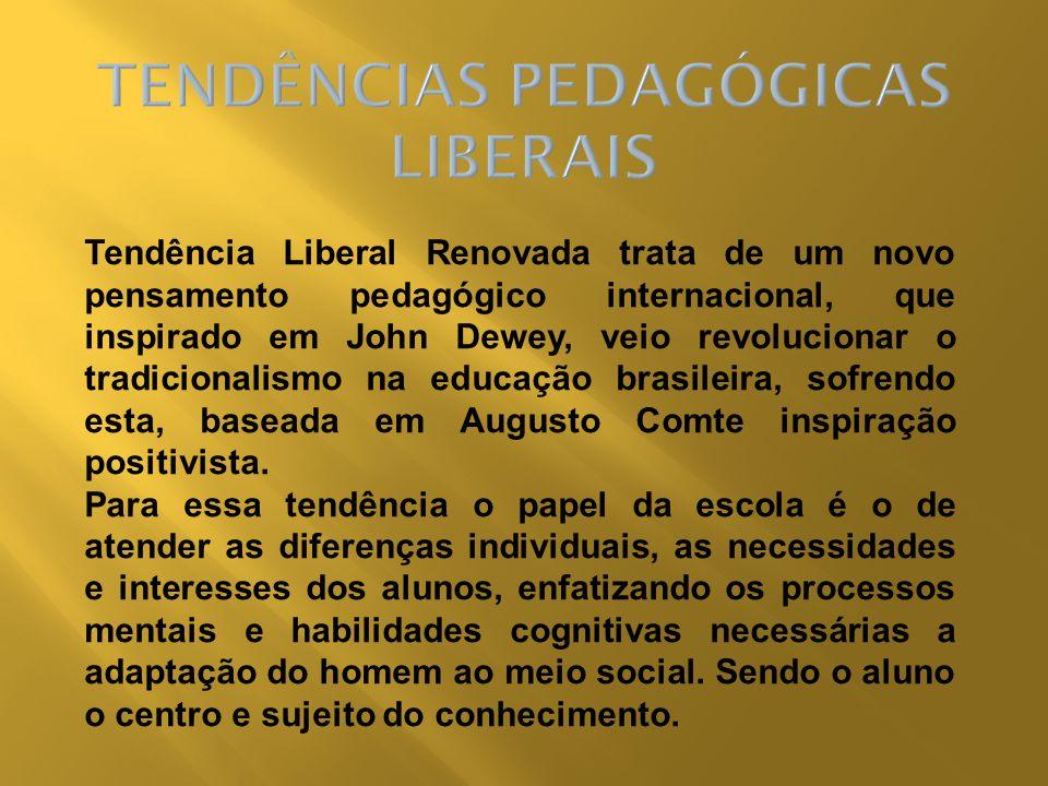 Tendência Liberal Renovada trata de um novo pensamento pedagógico internacional, que inspirado em John Dewey, veio revolucionar o tradicionalismo na e