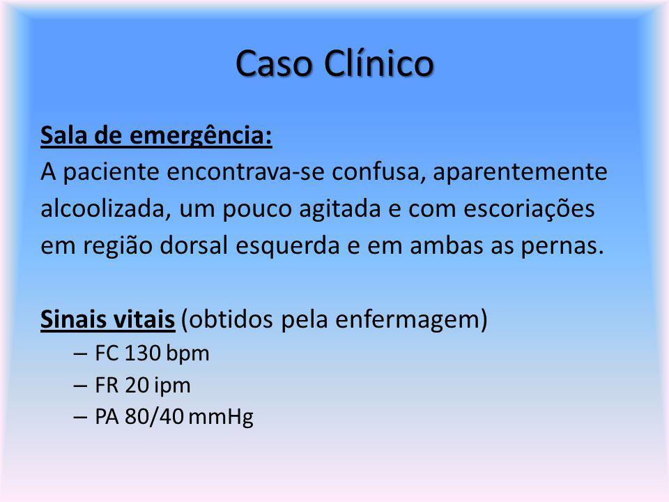 Caso Clínico Sala de emergência: A paciente encontrava-se confusa, aparentemente alcoolizada, um pouco agitada e com escoriações em região dorsal esqu