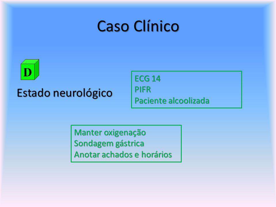 Caso Clínico Estado neurológico ECG 14 PIFR Paciente alcoolizada Manter oxigenação Sondagem gástrica Anotar achados e horários D