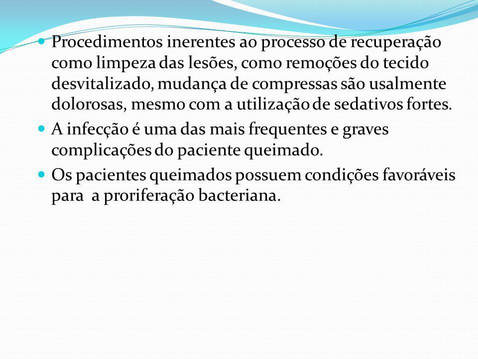 Procedimentos inerentes ao processo de recuperação como limpeza das lesões, como remoções do tecido desvitalizado, mudança de compressas são usalmente