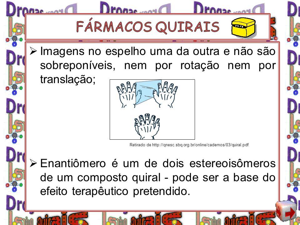 Imagens no espelho uma da outra e não são sobreponíveis, nem por rotação nem por translação; Enantiômero é um de dois estereoisômeros de um composto q