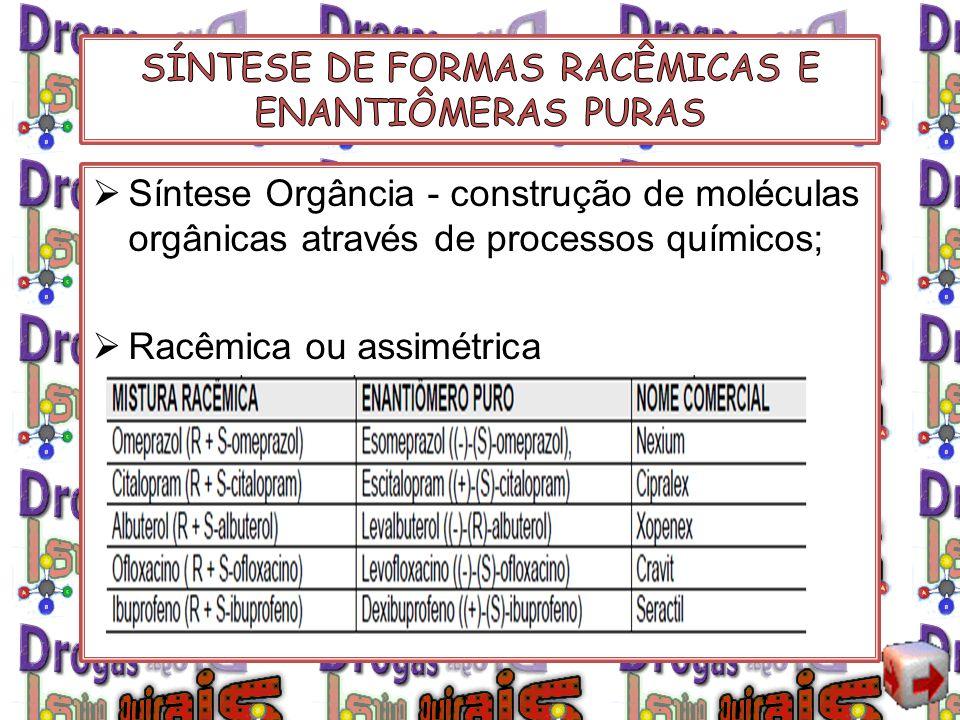 Síntese Orgância - construção de moléculas orgânicas através de processos químicos; Racêmica ou assimétrica