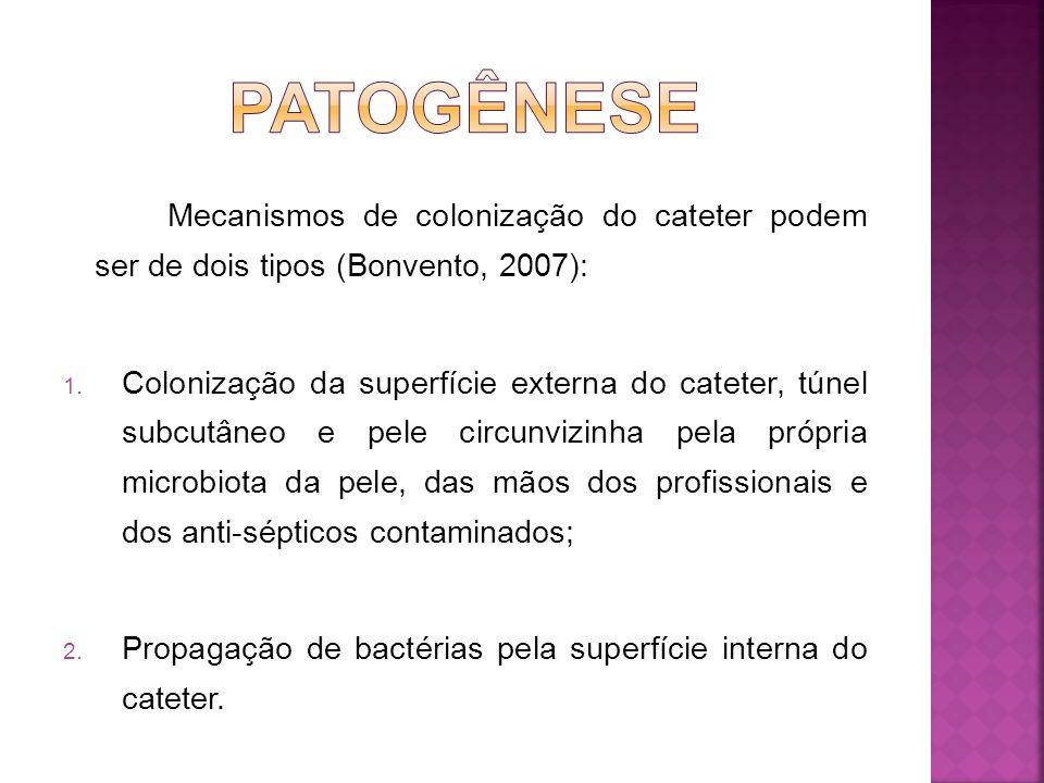 Segundo Bonvento (2007), as espécies microbianas mais prevalentes nos processos infecciosos associados a cateteres são: Stafylococcus coagulase negativo – 27%; S.