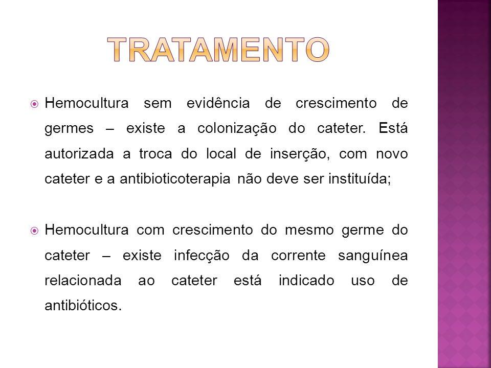 1. Ponta do cateter não apresenta crescimento – a infecção da corrente sanguínea relacionada ao cateter é improvável, mesmo com hemocultura positiva;