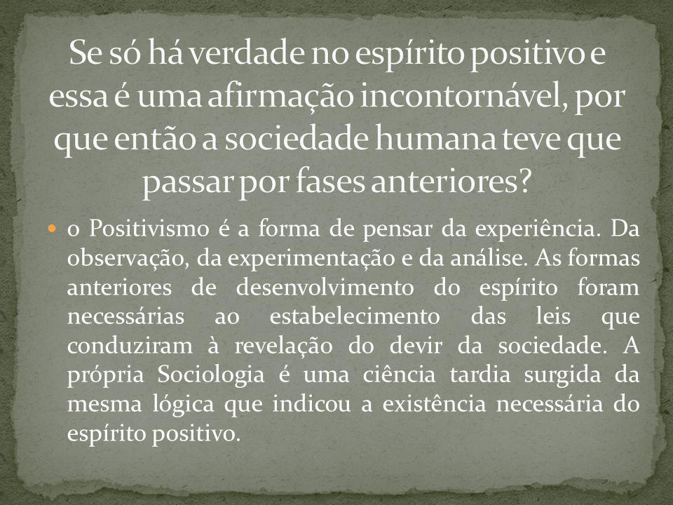 o Positivismo é a forma de pensar da experiência.Da observação, da experimentação e da análise.