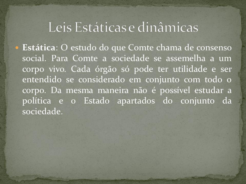 Estática: O estudo do que Comte chama de consenso social.