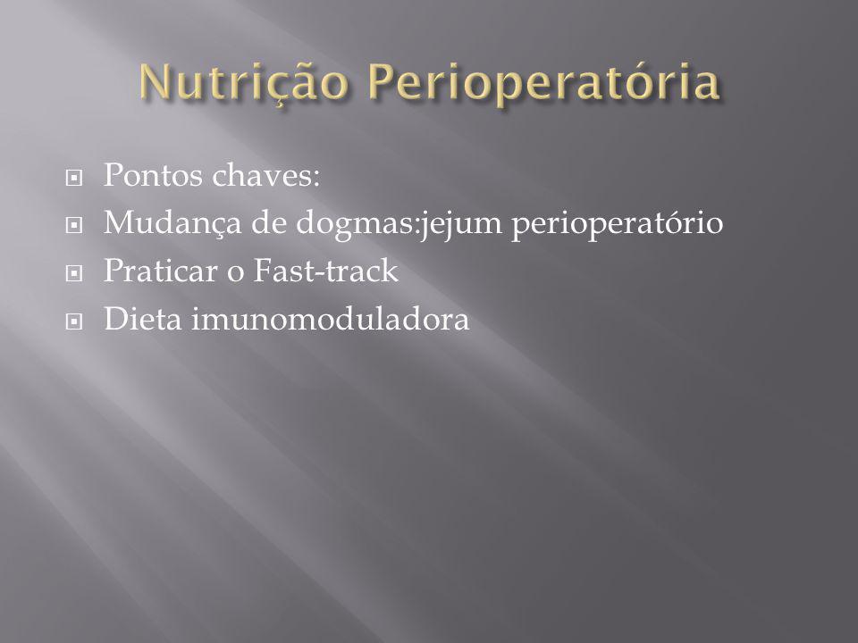Pontos chaves: Mudança de dogmas:jejum perioperatório Praticar o Fast-track Dieta imunomoduladora