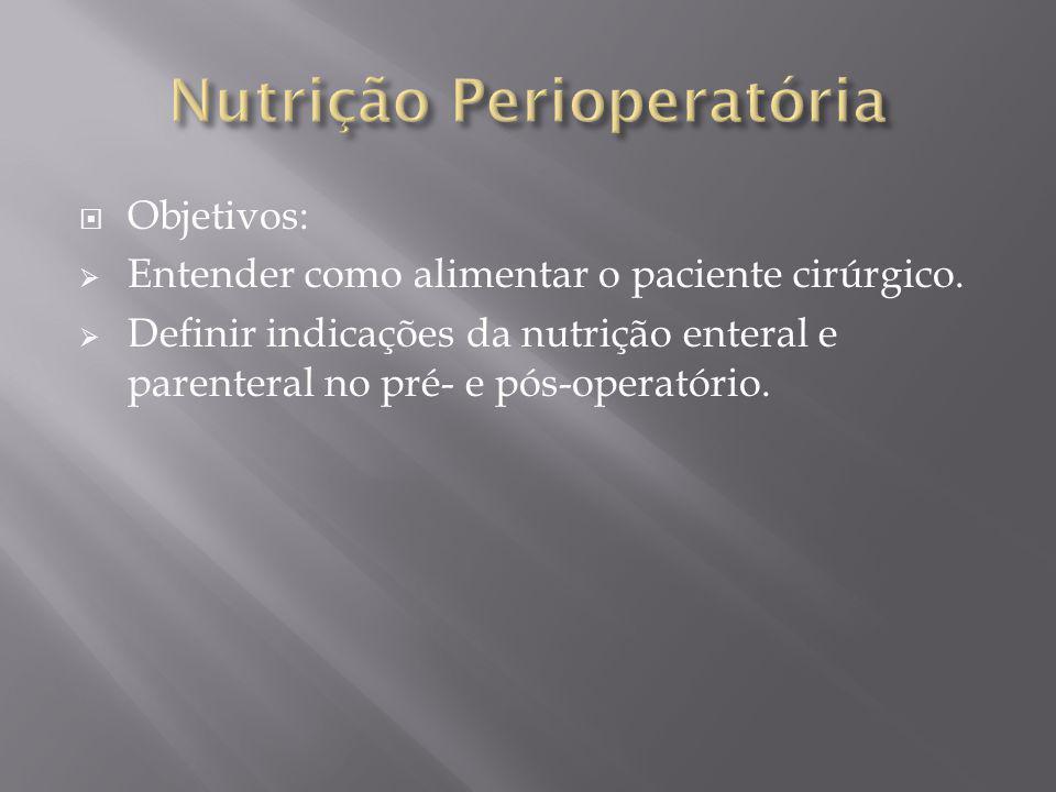 Objetivos: Entender como alimentar o paciente cirúrgico. Definir indicações da nutrição enteral e parenteral no pré- e pós-operatório.
