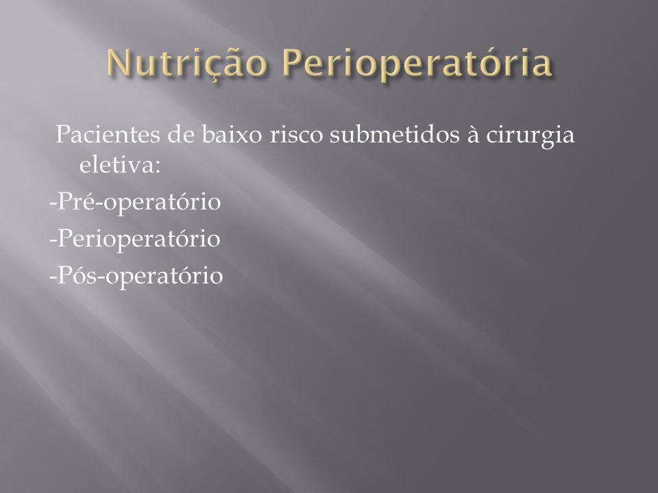 Pacientes de baixo risco submetidos à cirurgia eletiva: -Pré-operatório -Perioperatório -Pós-operatório