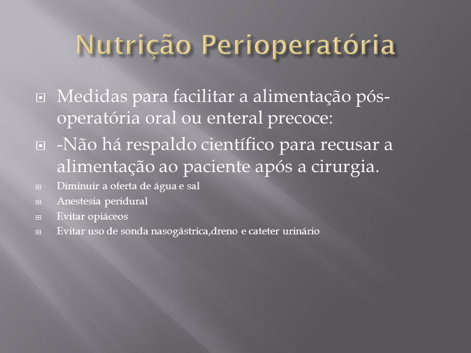 Medidas para facilitar a alimentação pós- operatória oral ou enteral precoce: -Não há respaldo científico para recusar a alimentação ao paciente após