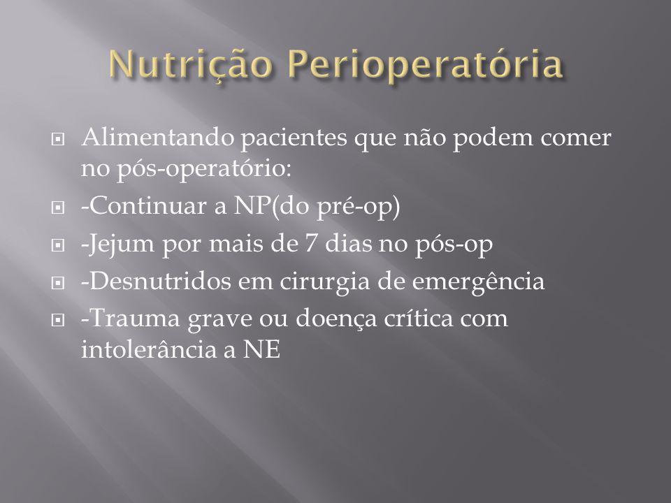 Alimentando pacientes que não podem comer no pós-operatório: -Continuar a NP(do pré-op) -Jejum por mais de 7 dias no pós-op -Desnutridos em cirurgia d