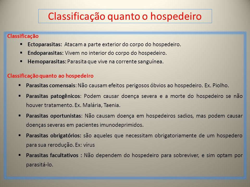 Classificação quanto o hospedeiro Classificação Ectoparasitas: Atacam a parte exterior do corpo do hospedeiro. Endoparasitas: Vivem no interior do cor