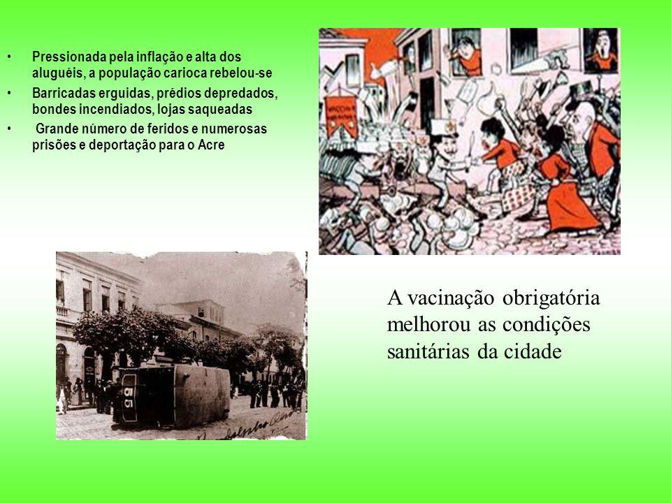 Pressionada pela inflação e alta dos aluguéis, a população carioca rebelou-se Barricadas erguidas, prédios depredados, bondes incendiados, lojas saqueadas Grande número de feridos e numerosas prisões e deportação para o Acre A vacinação obrigatória melhorou as condições sanitárias da cidade