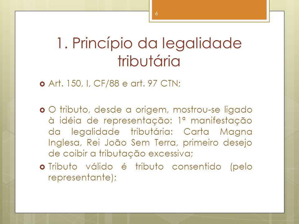 1. Princípio da legalidade tributária Art. 150, I, CF/88 e art. 97 CTN; O tributo, desde a origem, mostrou-se ligado à idéia de representação: 1ª mani