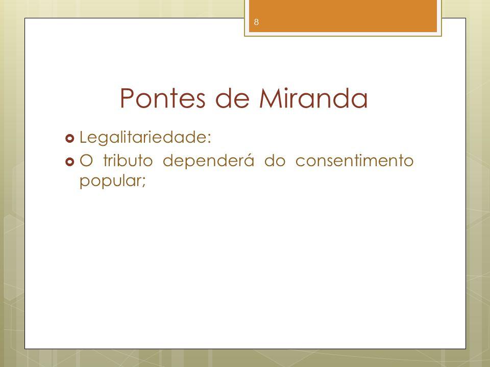 Pontes de Miranda Legalitariedade: O tributo dependerá do consentimento popular; 8
