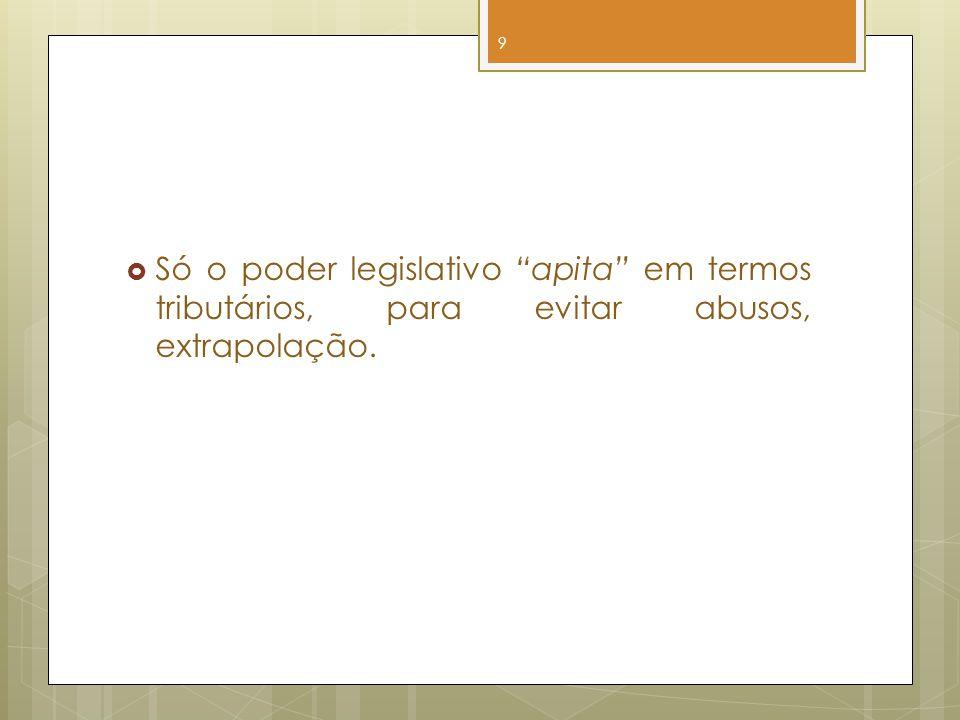 Só o poder legislativo apita em termos tributários, para evitar abusos, extrapolação. 9