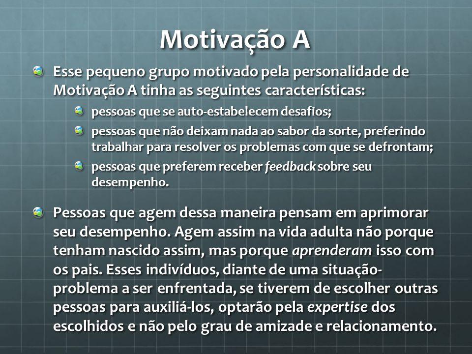 Motivação A Esse pequeno grupo motivado pela personalidade de Motivação A tinha as seguintes características: pessoas que se auto-estabelecem desafios