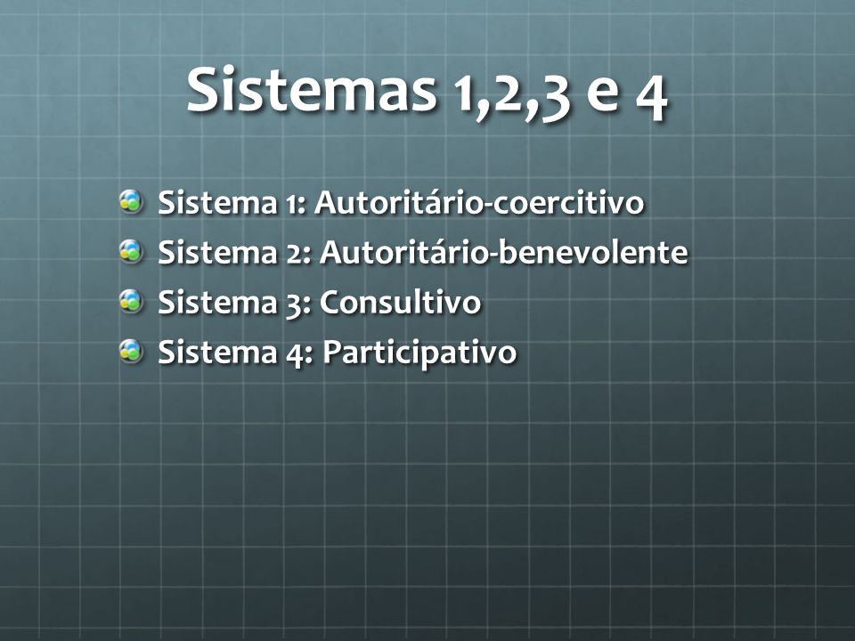 Sistemas 1,2,3 e 4 Sistema 1: Autoritário-coercitivo Sistema 2: Autoritário-benevolente Sistema 3: Consultivo Sistema 4: Participativo