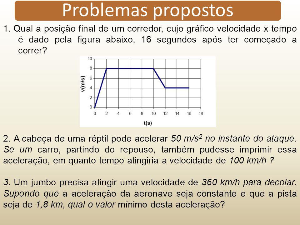 1. Qual a posição final de um corredor, cujo gráfico velocidade x tempo é dado pela figura abaixo, 16 segundos após ter começado a correr? 2. A cabeça