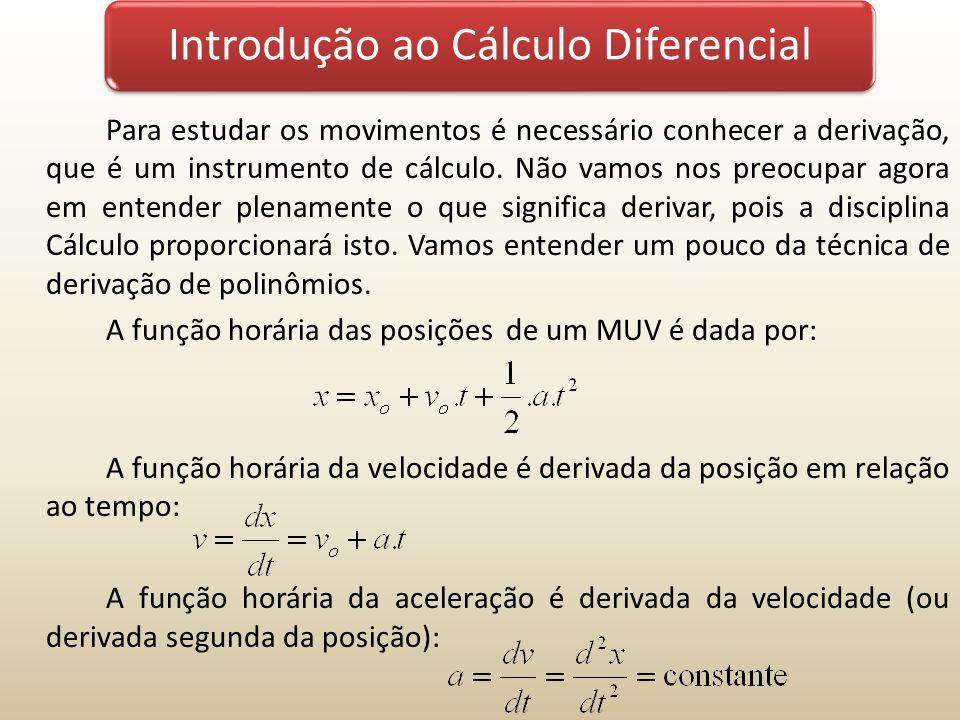 Introdução ao Cálculo Diferencial Para estudar os movimentos é necessário conhecer a derivação, que é um instrumento de cálculo. Não vamos nos preocup