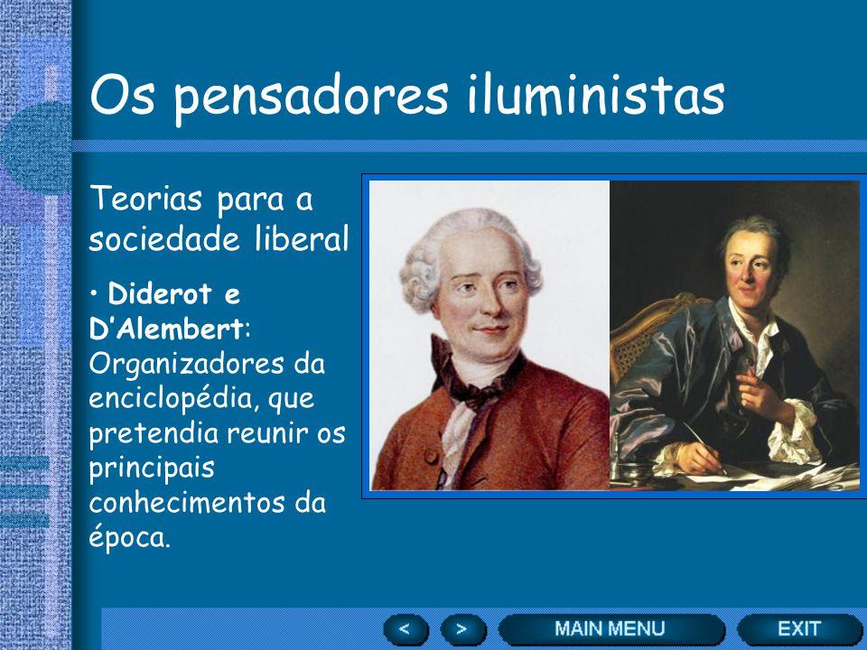Os pensadores iluministas Teorias para a sociedade liberal Diderot e DAlembert: Organizadores da enciclopédia, que pretendia reunir os principais conh