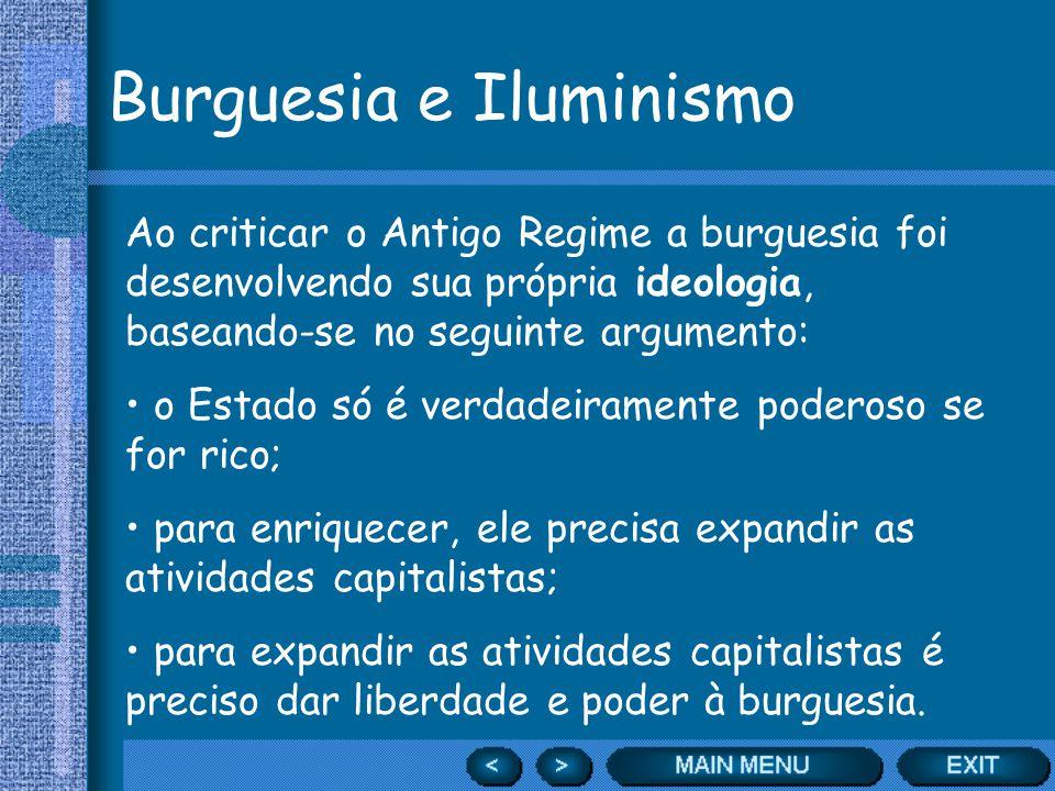 Burguesia e Iluminismo Ao criticar o Antigo Regime a burguesia foi desenvolvendo sua própria ideologia, baseando-se no seguinte argumento: o Estado só
