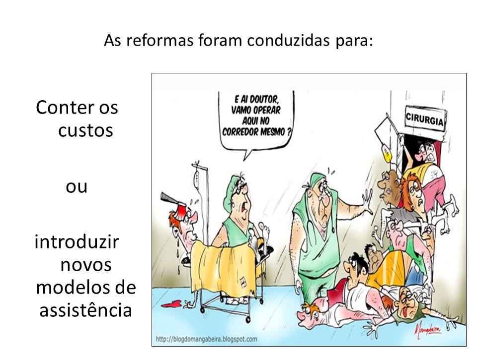 As reformas foram conduzidas para: Conter os custos ou introduzir novos modelos de assistência